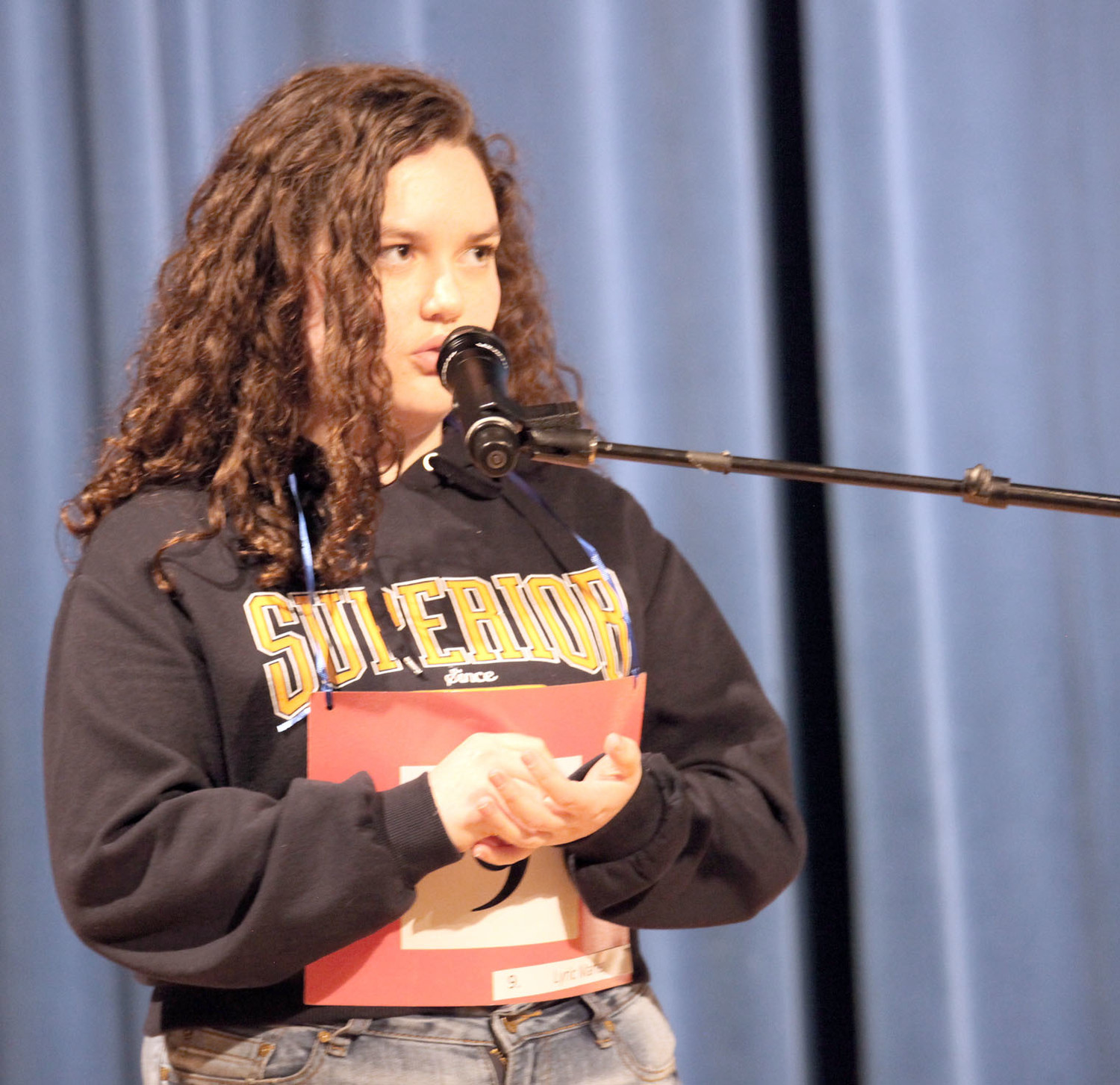 "USING THE METHOD of ""writing"" out words with her finger on her palm, Lyric Marler took first place at the 2018 Mildred Maupin Spelling Bee on Tuesday night."