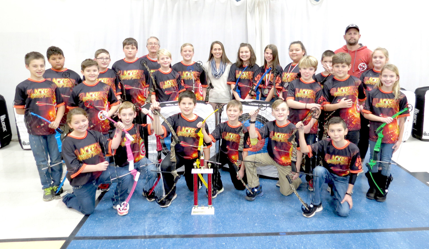 THE ARCHERY TEAM of Black Fox Elementary recently competed in the annual Van Buren archery tournament, held in Spencer. The team won first place overall, and had two archers win individual honors. Brooke Bowman took first in the elementary girls' division and Laisia Novene won second in the elementary girls' division. Team members (shown in no particular order) are Caleb Tunistra, Lee Novene, Riley Frazier, Ethan Lynn, Josh Burrell, Bryson Kent, Luke Milligan, Emma McMahan, Brooke Bowman, Laisia Novene, Jude Carpenter, Trent Biggs, Clayton Crowden, Chloe Ryerson, Kyanna Leach, Kyler Goodwin, Ethan Malone, Noah Dycus, Sawyer Hammond and Dillon Trew.