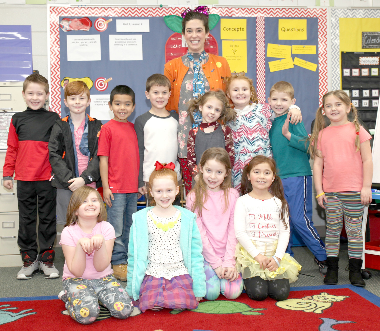 "DRESSED UP for ""Tacky Clothes Day,"" students in Brandi Pirkle's first-grade class at Oak Grove Elementary reflected on Presidents Day one recent morning."