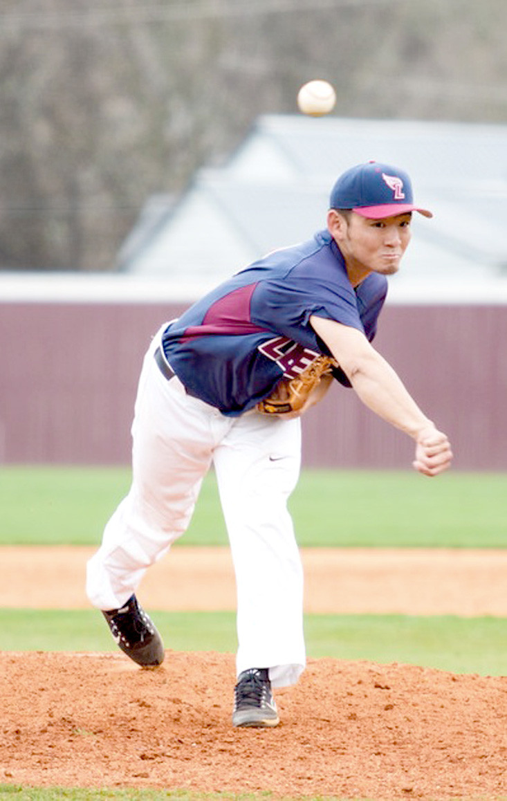LEE UNIVERSITY senior Jumpei Akanuma displays form in no-hit performance on Saturday against West Alabama at Olympic Field.