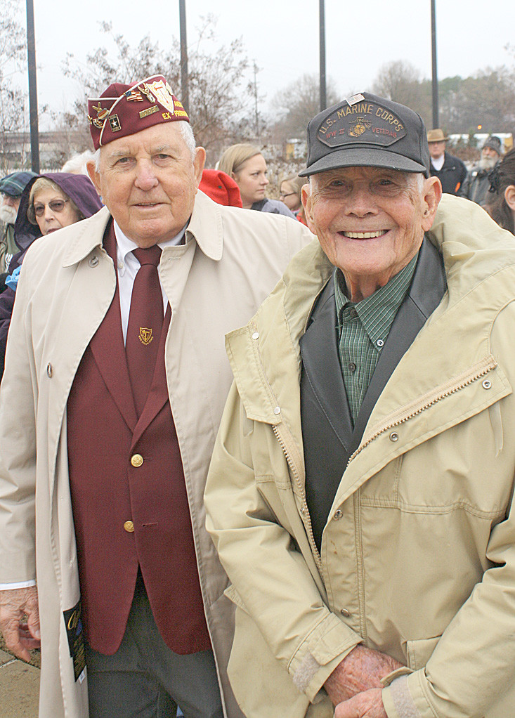 KOREAN WAR veteran 'Bill' Norwood, left, and World War II veteran Jack Murphy were among the distinguished veterans who participated in the 2016 Wreaths Across American program in Chattanooga National Cemetery.