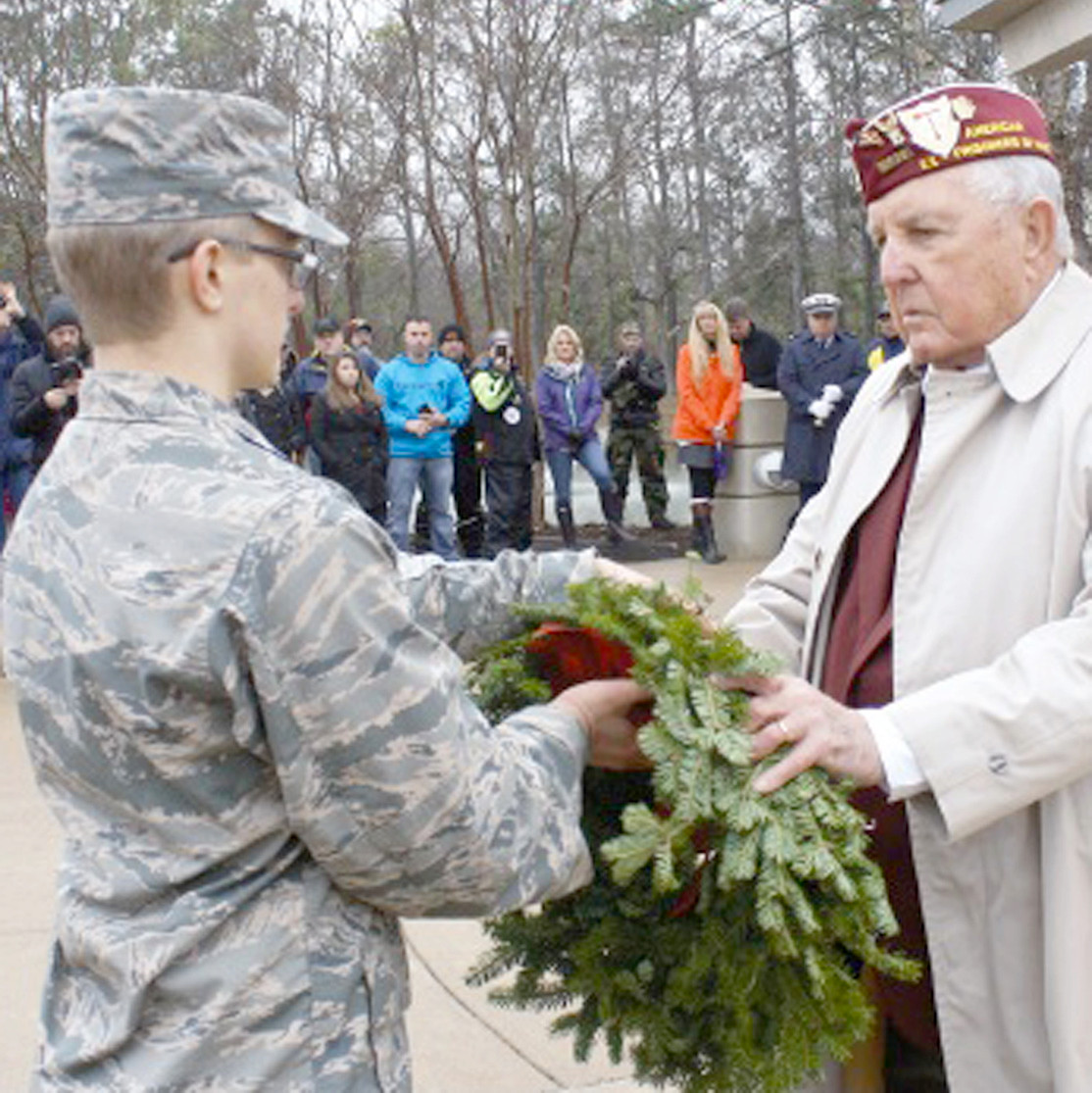 "WILLIAM ""BILL"" NORWOOD was called on, as a veteran of the Korean War, to present a wreath to a young cadet at the 2016 Wreaths Across America ceremony in Chattanooga National Cemetery."