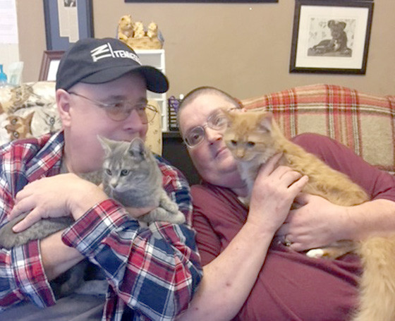Lynda And Greg Zaczek lost a 3-year-old cat to heart disease. They visited The Ark to find a companion for their 7-year-old cat, and fell in love with Gracie, a 6-month-old petite Russian Blue mix kitten. Mufasa, a 4-month-old domestic longhair orange-and-white kitten, kept jumping in Lynda's lap, so they decided to adopt both.