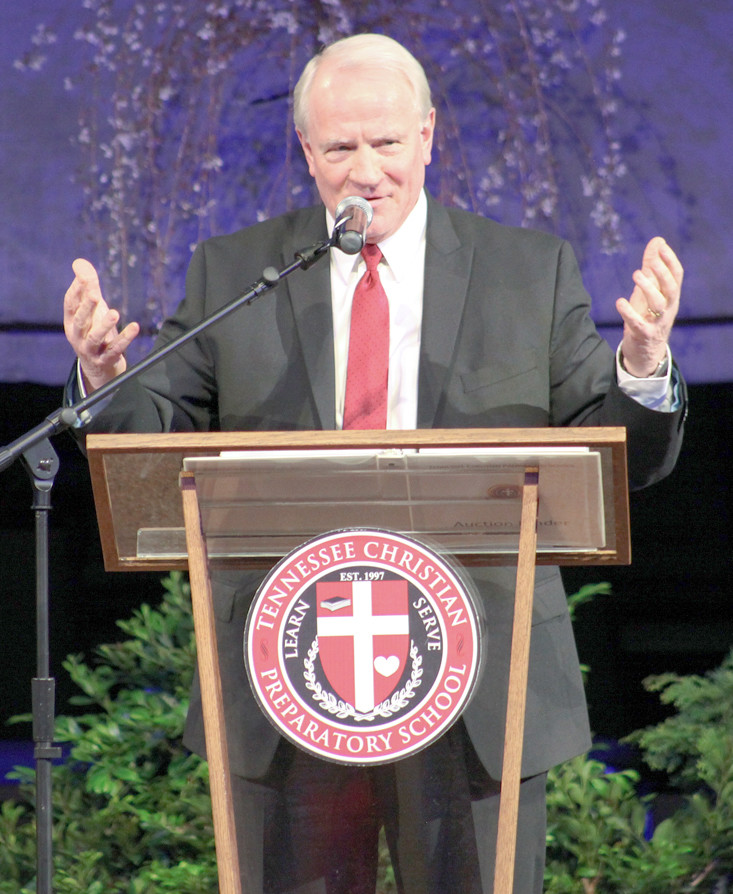 GUEST SPEAKER and Headmaster of Mount Paran Christian School, Dr. David Tilley, delivers a message about the importance of a Christian school within a Cleveland.