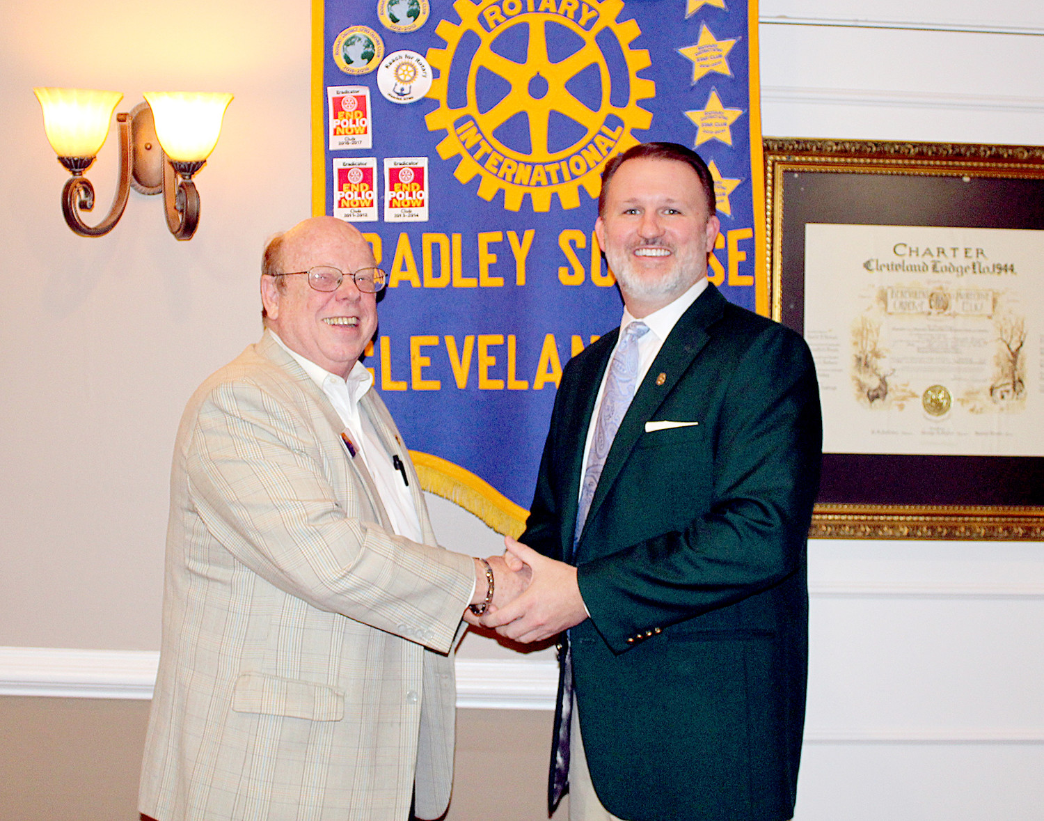 THE GROWTH of Cleveland and Bradley County was discussed during a recent Bradley Sunrise Rotary Club meeting. Speaker Jim Davis, left, is pictured with club President Matthew Coleman.