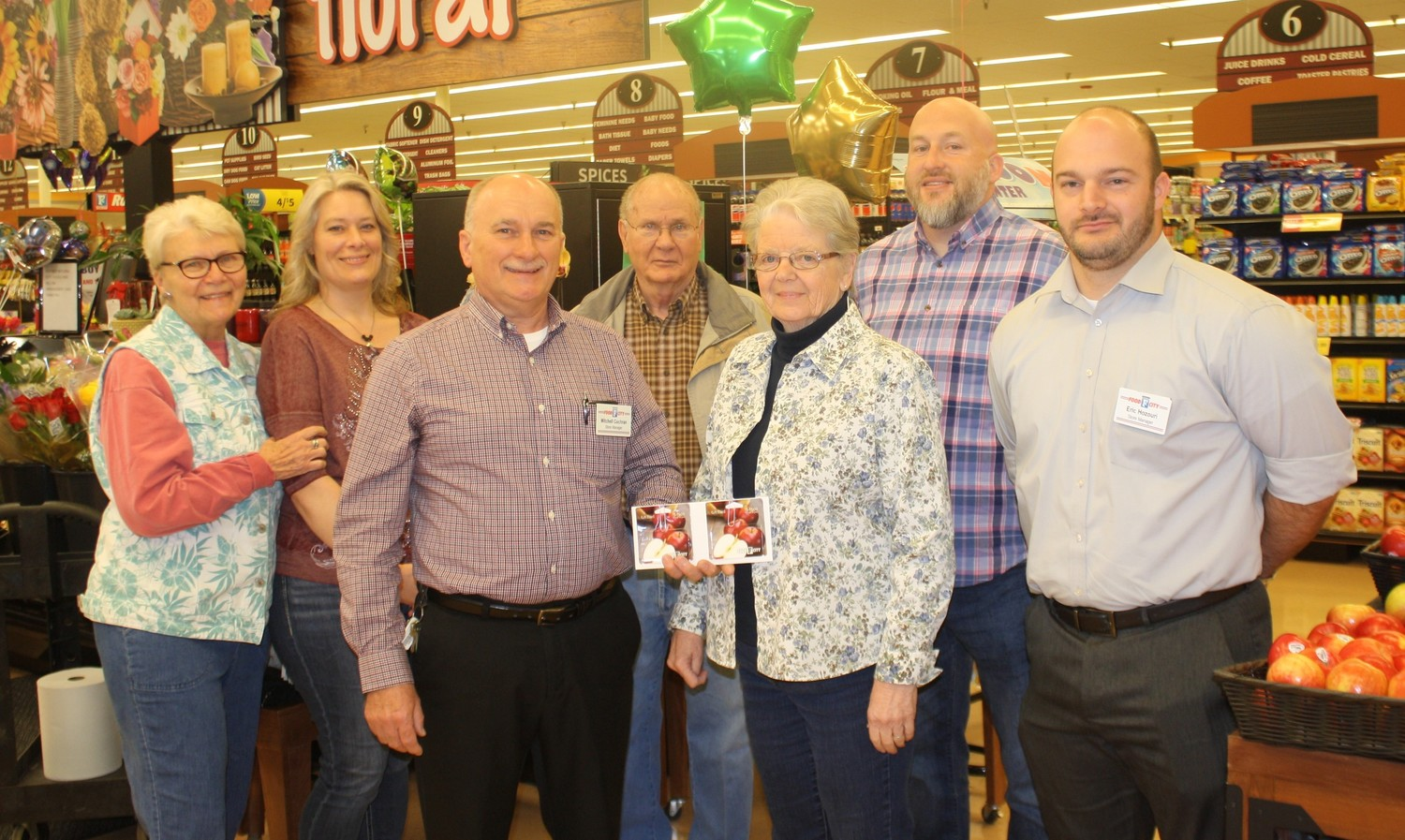 WATERVILLE BAPTIST Church was the recipient of funds from a special promotion by Cleveland's two Food City stores held during the 2017 holidays. Food City South Store Manager Mitch Cochran, third from left, and North Store Manager Eric Hozouri, right, presented the church's food bank with more than $16,000 in food coupons. At Friday's presentation were, from left, Kathy Sefcik, Kelita Puckett, Cochran, David Scoggins, Food Bank Director Kay Houk, The Rev. Coby Goins and Hozouri.
