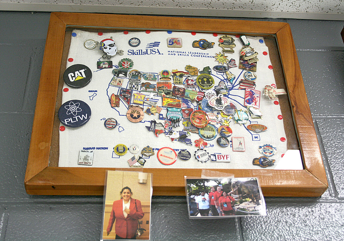 Chef Rush proudly displays his class'  pins from Skills USA competitions. Skills USA is a competitive club that features events in everything from cooking and video to T-shirt design.