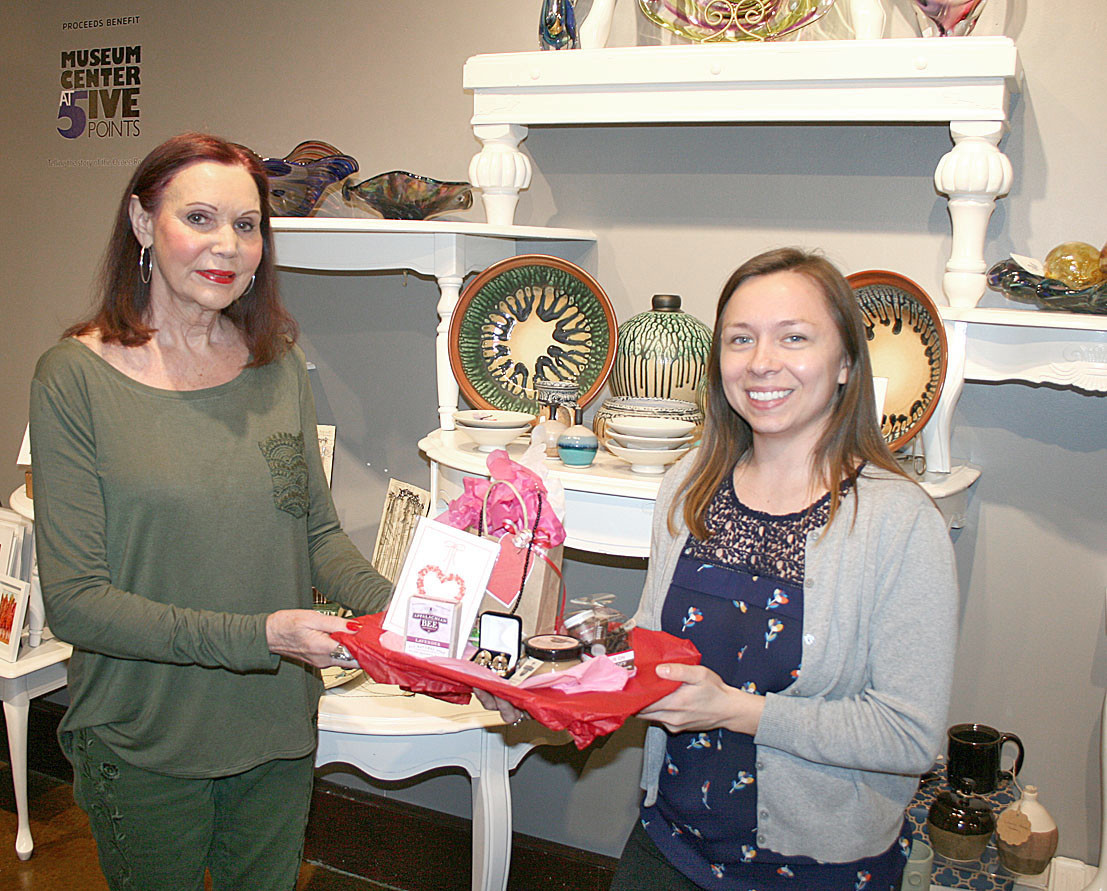 The Museum Center at 5ive Points held its first annual Galentine's Day event the day before Valentine's Day. It was an evening for ladies to get together with their friends to enjoy shopping, a wine bar, hors d'oeuvres, chocolate fondue, and music. It even had Barbara Krasman, a jewelry artist featured in the Museum Store, set up a trunk show and the ladies got to try on and shop her exclusive jewelry. Katie Cortez, museum associate, right, stands with the winner of the Galentine's Day giveaway, Betty Parris, left. Cortez said it was a great turnout for our first time hosting the Galentine's Day event and looks forward to another great event next year.