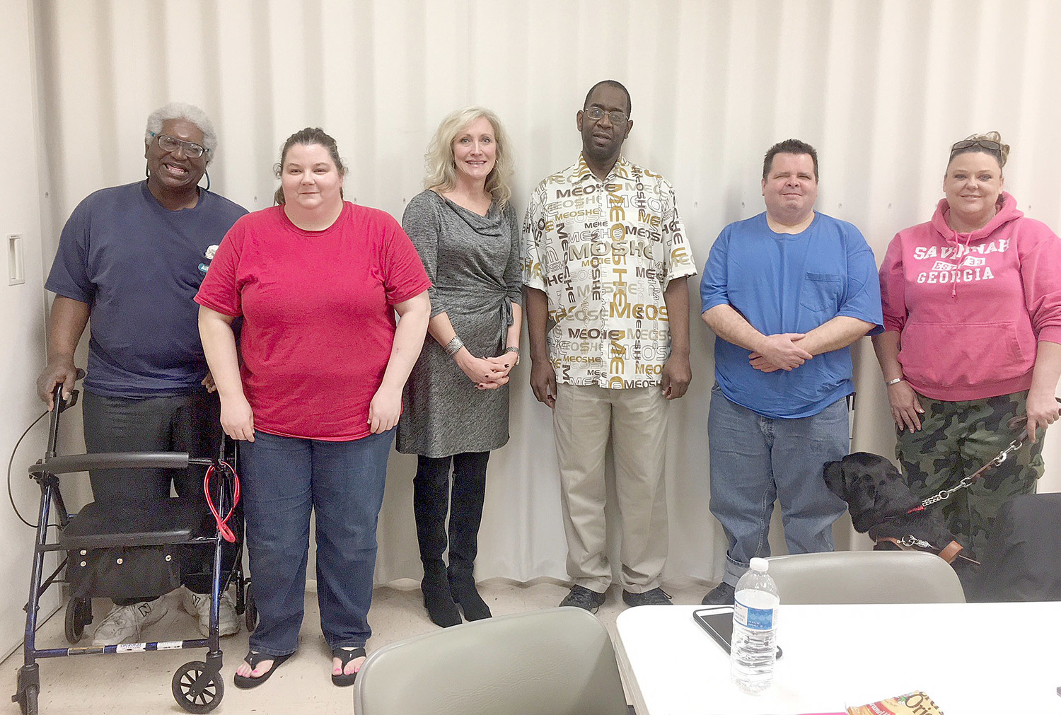 The Southeast Chapter of the National Federation of the Blind hosted a guest speaker who discussed a sleep disorder known as Non-24 Hour. Pictured from left to right include: Faheem Bengazi, vice president; Christy O'Dell, president; Wendy Osteen, guest speaker; Jacki Holmes; Joe McDonald; Sharon Warren, secretary with her guide dog, Avery.