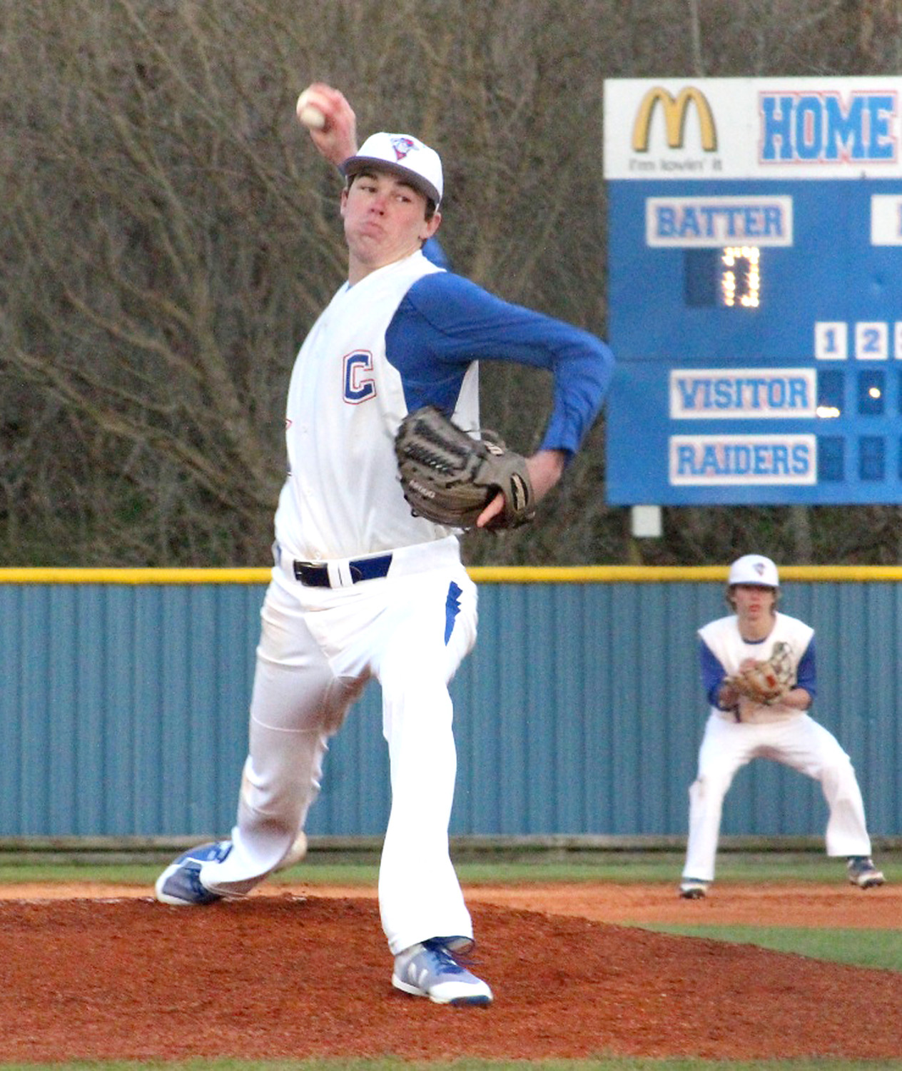ACE HURLER Camden Sewell tossed a 107-pitch complete-game shutout, and picked up 13 strikeouts in his Opening Day victory Monday over East Hamilton at CHS.