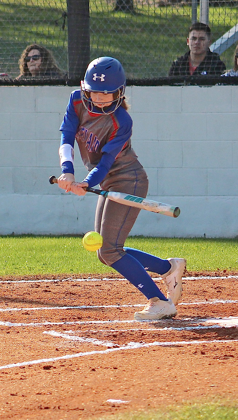 CLEVELAND'S Kayla Davenport fouls off a pitch against Rhea County at Cleveland on Tuesday afternoon.