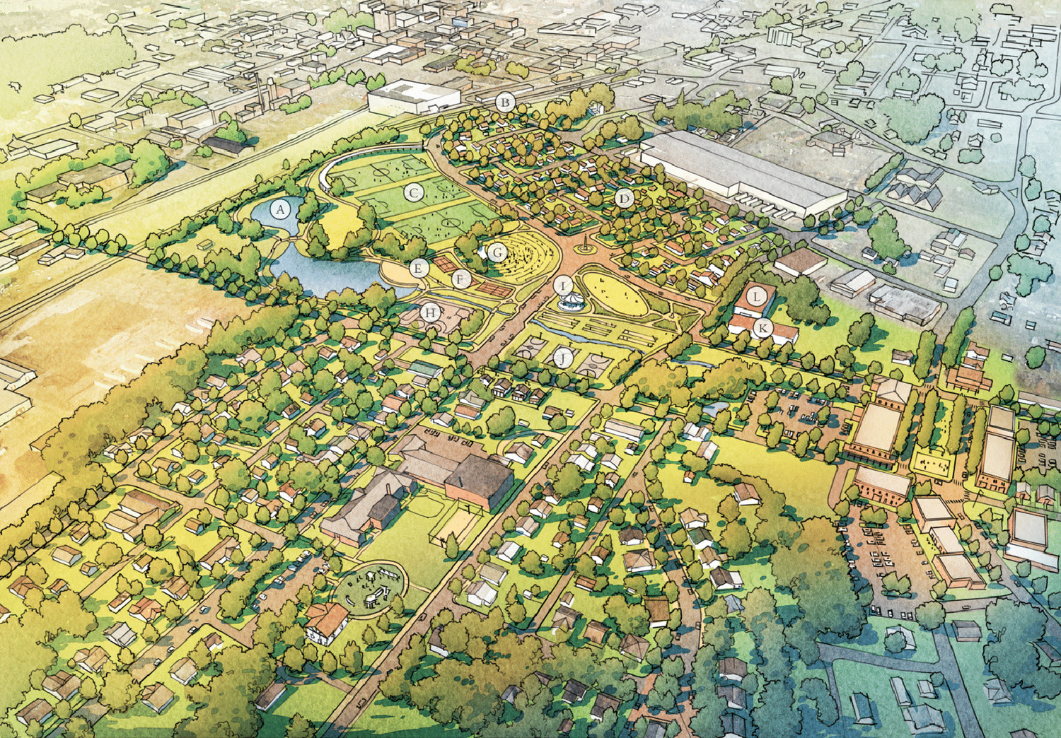 THE GRAPHIC ABOVE shows a conceptual vision for the Blythe-Oldfield community with the addition of the former Whirlpool site. The detailed concept includes a much-enlarged park area, a pond (A), a variety of new homes, a bike trail (E), pickleball courts (F), an amphitheater (G), a skate park (H), a carousel (I), basketball courts (J), a community center (K) and a cannery (L), among a variety of other neighborhood amenities. Organizers admit it's a vision that would require use of the Whirlpool property, and that it could take years. At left, is an aerial view of this same section of the old Whirlpool property on Cleveland's south side.