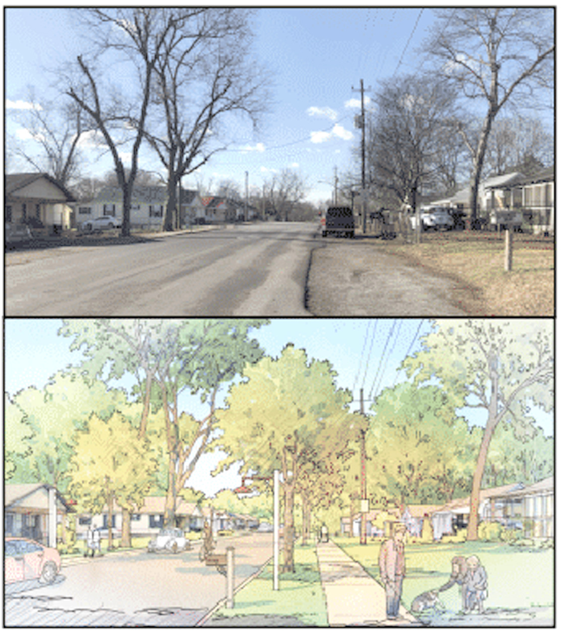 THIS ILLUSTRATION shows how a new streetscape along Blythe Avenue could look in the Blythe-Oldfield community. This is a conceptual design presented by City Fields Executive Director Dustin Tommey.