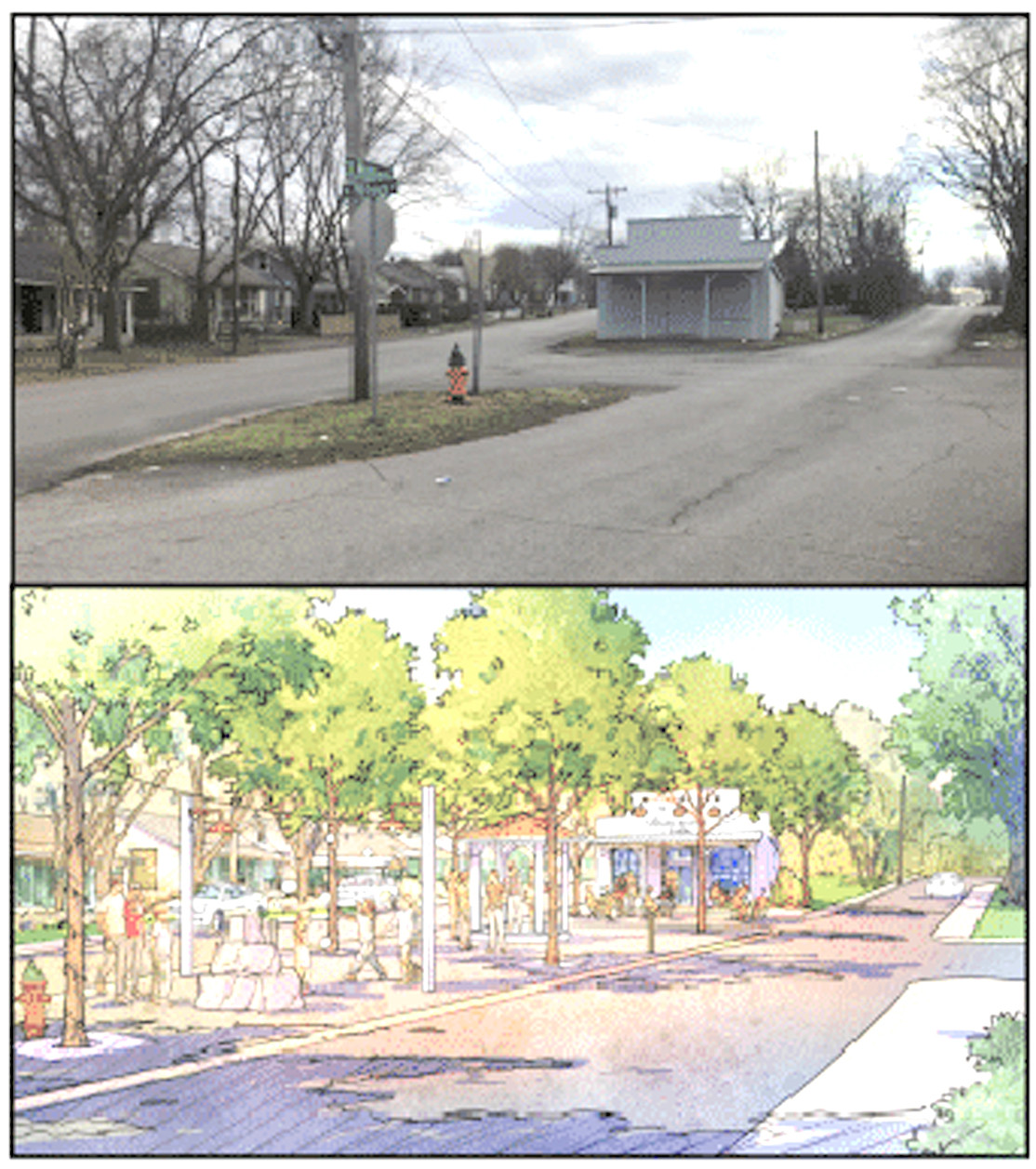 "A NEW LOOK for Blythe-Oldfield could change this currently vacant area into ""Wilson Square,"" which could be a place for community gatherings. This is a conceptual design presented by City Fields Executive Director Dustin Tommey."