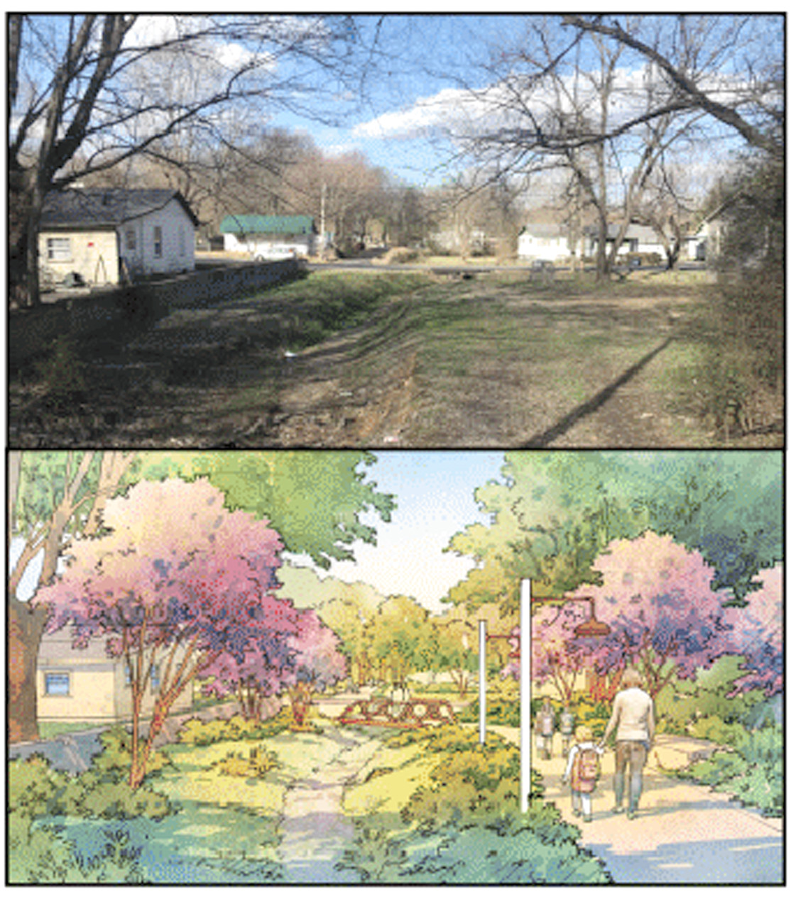 ONE OF THE IDEAS for the Blythe-Oldfield community is the possibility of creating a walking trail and park. This is a conceptual design presented by City FieldsExecutive Director Dustin Tommey.