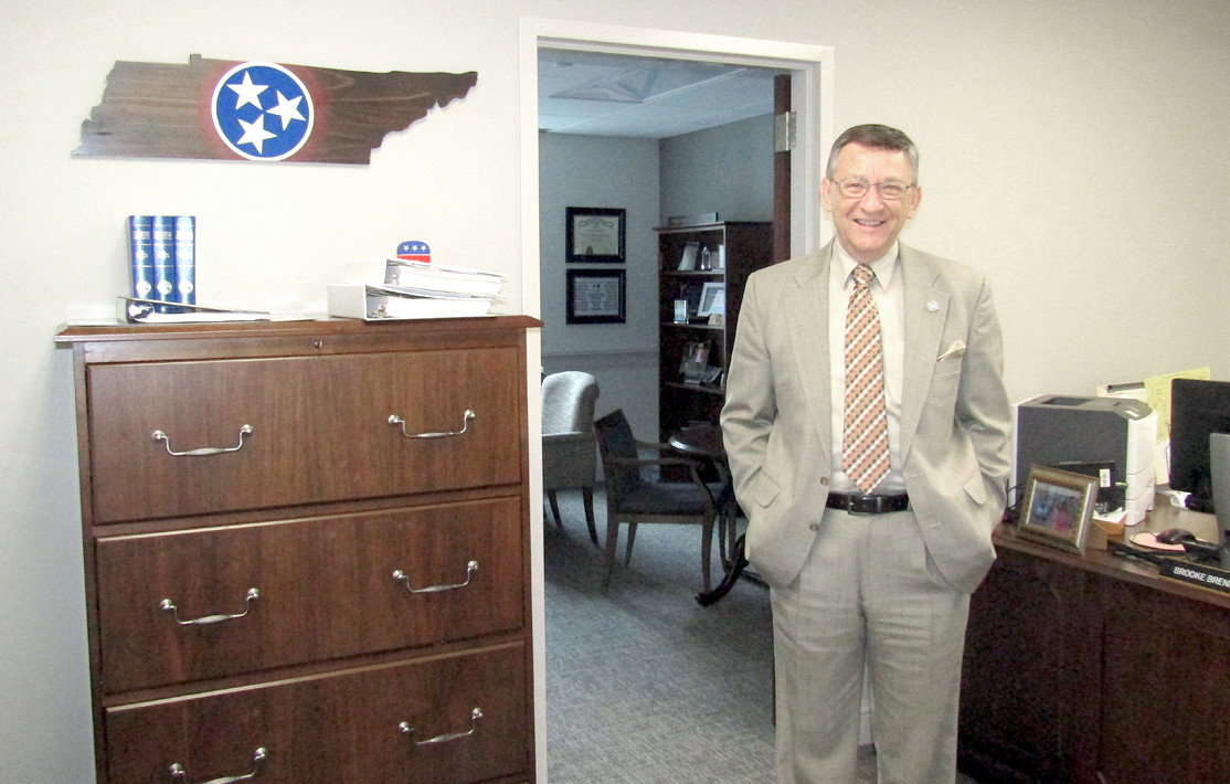 State Rep. Dan Howell shows off his new office in the recently rennovated Cordell Hull Building adjacent to the state Capitol.
