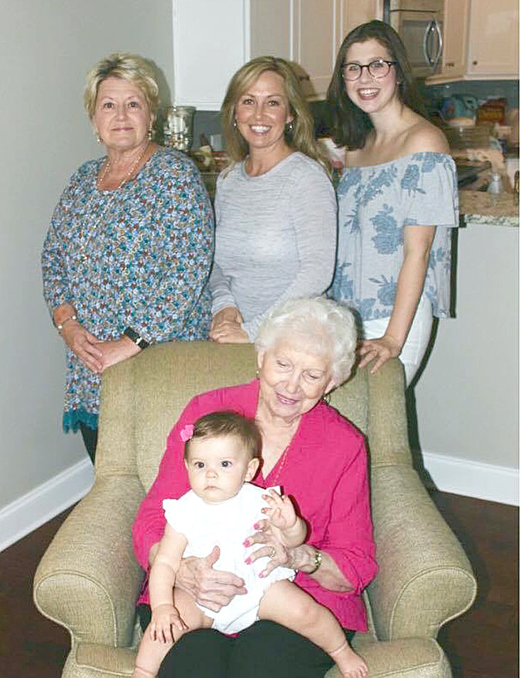 Five generations recently gathered for a photo. From top left, clockwise, are  Belinda Carlock (great-grandmother), Kristi Renner (grandmother), Maggie Renner (mother) and seated, Catherine Kerr (great-great-grandmother) holding Lily Averill. Carlock's sister,  Deborah Johnson, also has five generations  of family members.