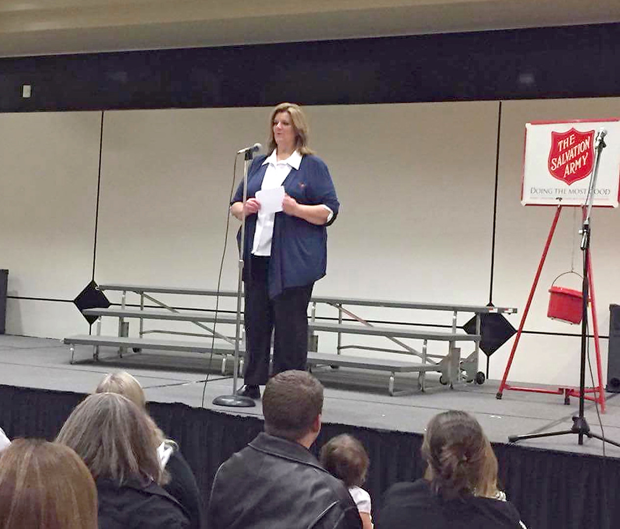 Sgt. Ruthie Forgey speaks to the crowd at last year's Kettle Kickoff.
