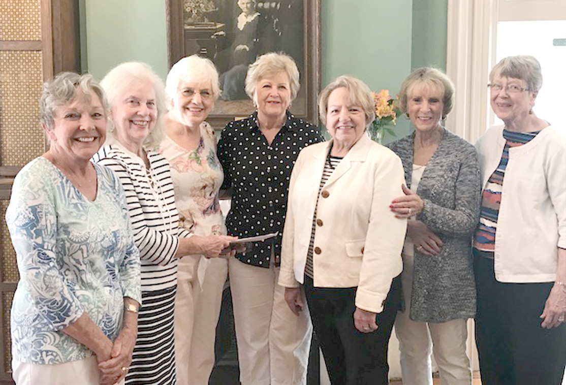 The Bradley Bridge Club presented Friends of the Library with a check for $207 from its recent ACBL Charity Game. From left are Marion Kyle; Polly Whitsitt; Lynn Dunlap, FOLA vice president; Meg Campbell, FOLA president; Pam Guy; Liz Owens; and Ruth Tuloss.