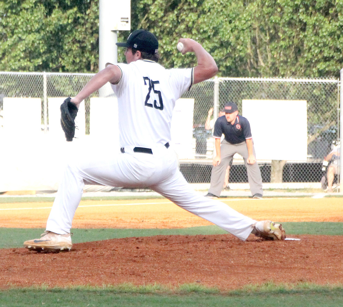BRADLEY CENTRAL senior Andy Bunch rocks and fires during his three-hit, complete game victory over Warren County in the Region 3-AAA semifinal game at the McKenzie Baseball Complex.