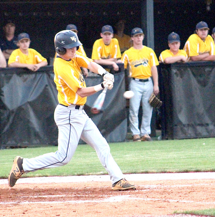 WALKER VALLEY'S Jordan Munck swings the bat in a Region 3-AAA semifinal contest at Cookeville Monday night. The Mustangs' season came to a halt in a 7-5 loss.
