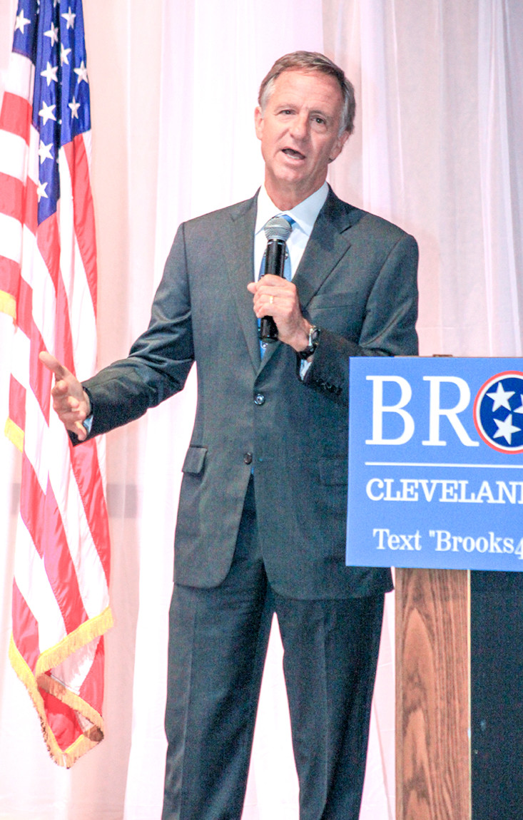 DURING A VISIT to Cleveland Friday evening, Gov. Bill Haslam endorsed the candidacy of former state Rep. Kevin Brooks who is seeking the position of Cleveland mayor. Brooks' opponent is retired Cleveland educator Duane Schriver.
