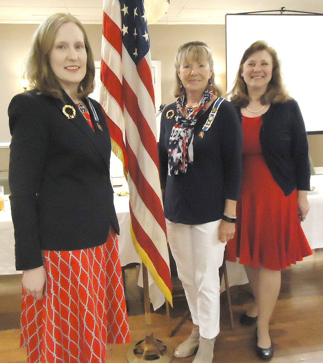 Ocoee Chapter DAR guest speaker was Ann Dietrich.  From left are  Regent Leigh Ann Boyd, Vice Regent Joanne Swafford and Dietrich.
