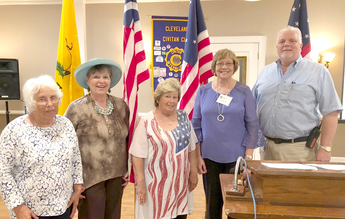Gretchen Coppinger, Inner guard from the Cleveland Elks Lodge, presented a