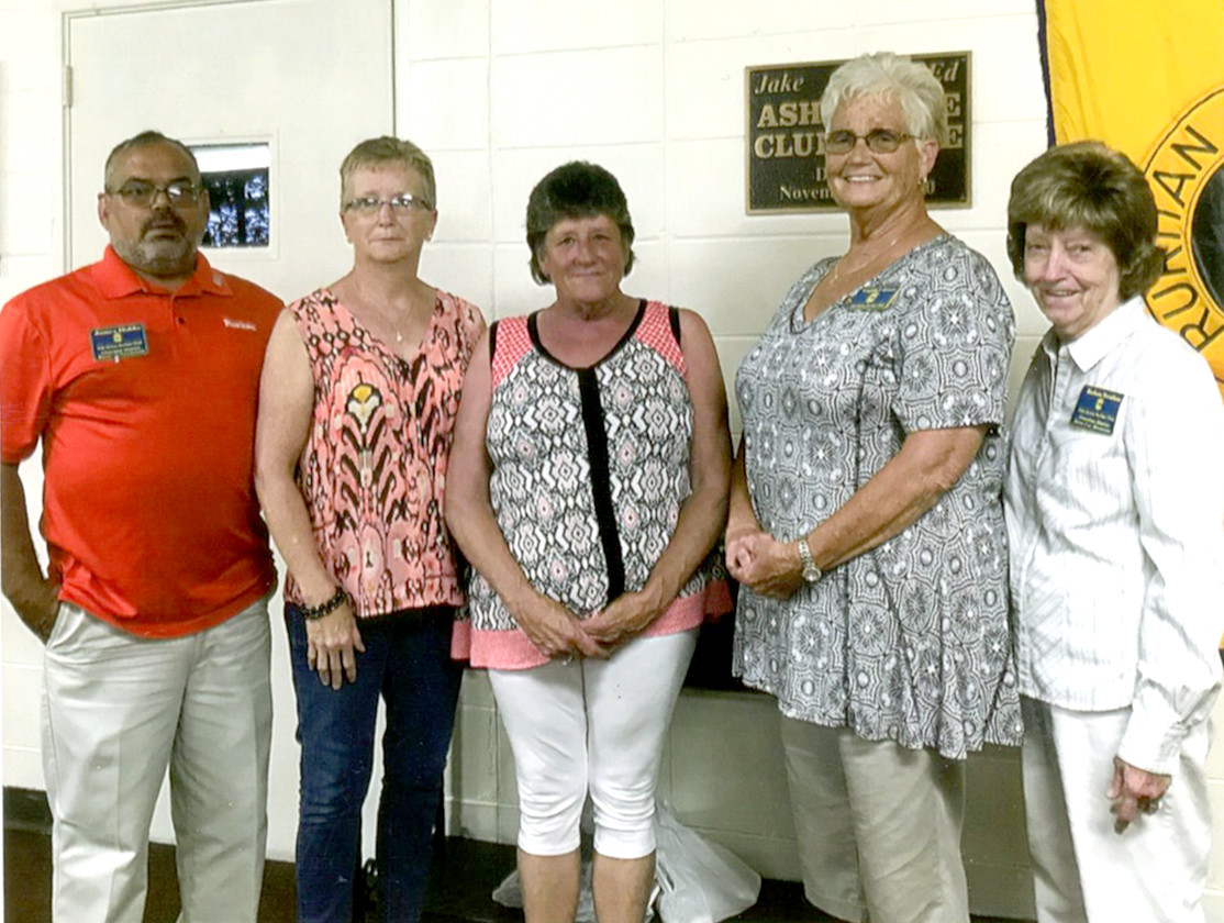 Oak Grove Ruritan welcomed Patricia K. Harris, center, as a new member during the club's May meeting. From left are James C. Dobbs, secretary; Connie Dobbs, treasurer; Virginia Coleman, president; and Barbara Trentham, vice president.