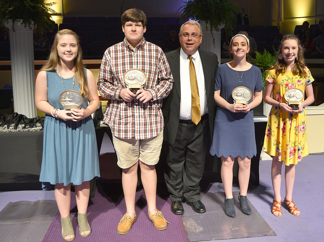Eighth-graders Emma Stepp, Logan Watson, Emma Jane White and Erica Yates were chosen to receive the Principal's Character Award for demonstrating top-notch character throughout middle school.