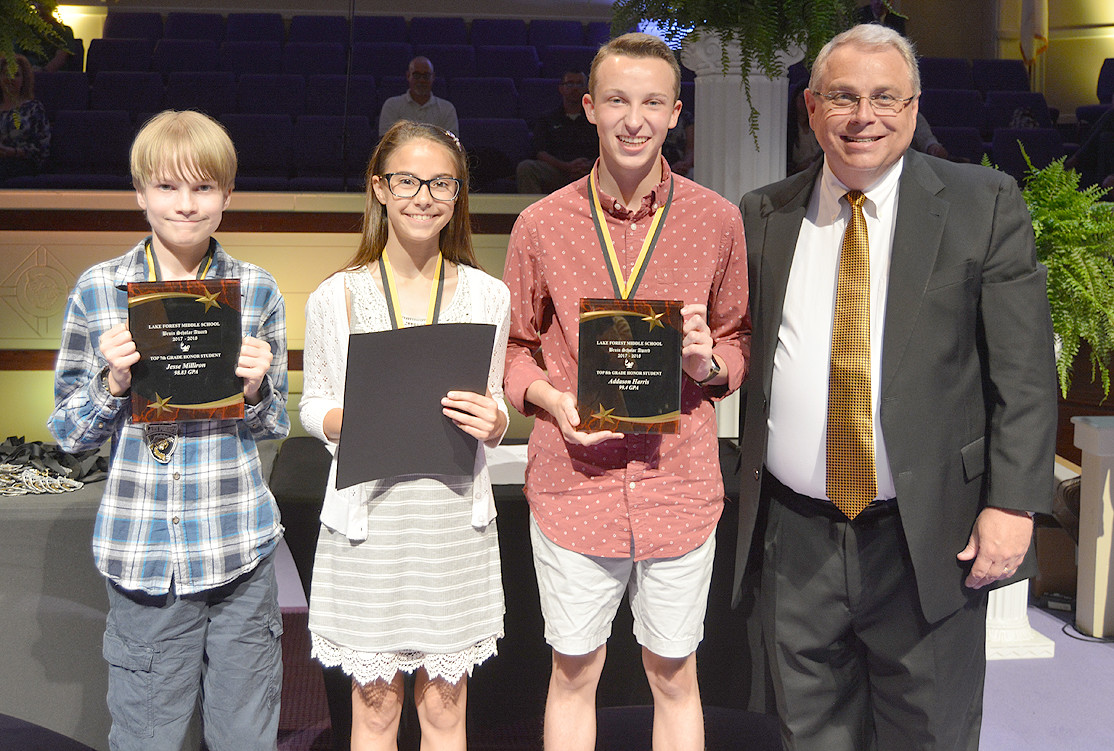 Students earning the highest average in each grade level received the Bruin Scholars Award. Seventh-grade recipient was Jesse Milliron; sixth-grade was Venice Botticelli; and eighth-grader Addason Harris was a Bruin Scholar.