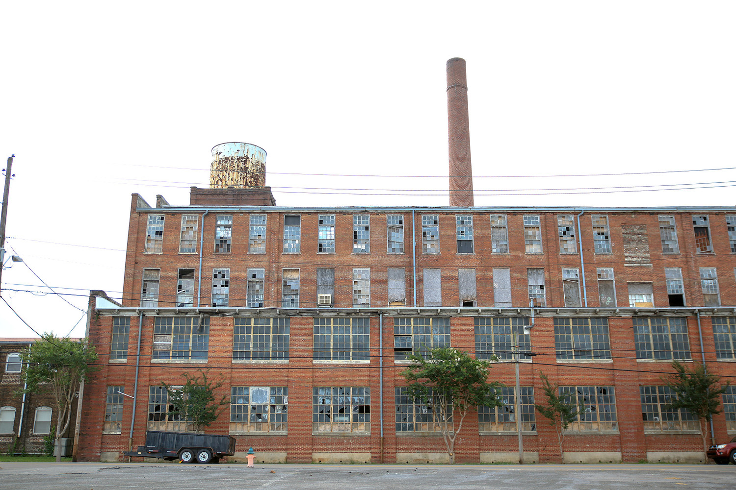 ABOVE IS AN EXTERIOR view of the historic Old Woolen Mill in South Cleveland, located just west of the old Whirlpool Plant property. May's building permits included two permits for this property, one for a new roof, and a second for renovation of office space within the building.
