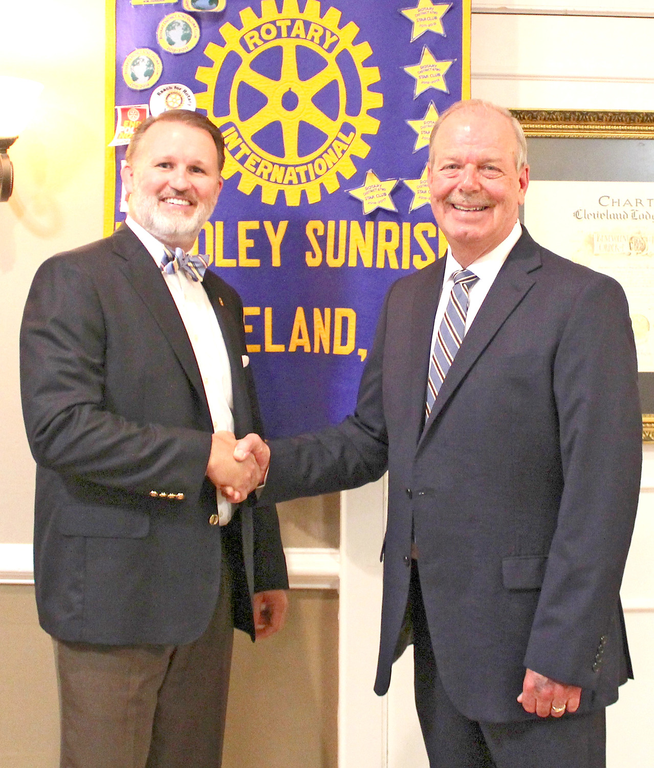 SHERIFF-ELECT Steve Lawson shared details of his transition and answered questions from the Bradley Sunrise Rotary Club. Lawson, right, is shown with club President Matthew Coleman.