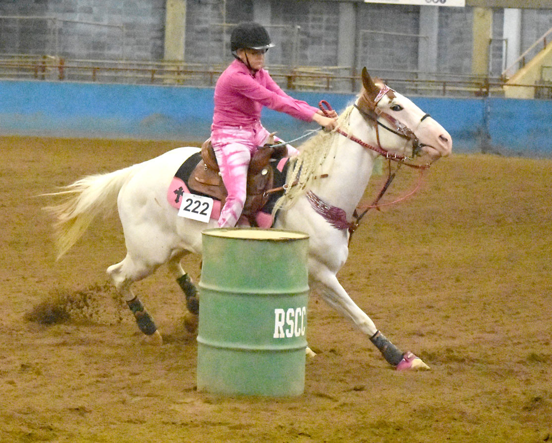 Maggie Sims ran barrels on her horse, Annie.