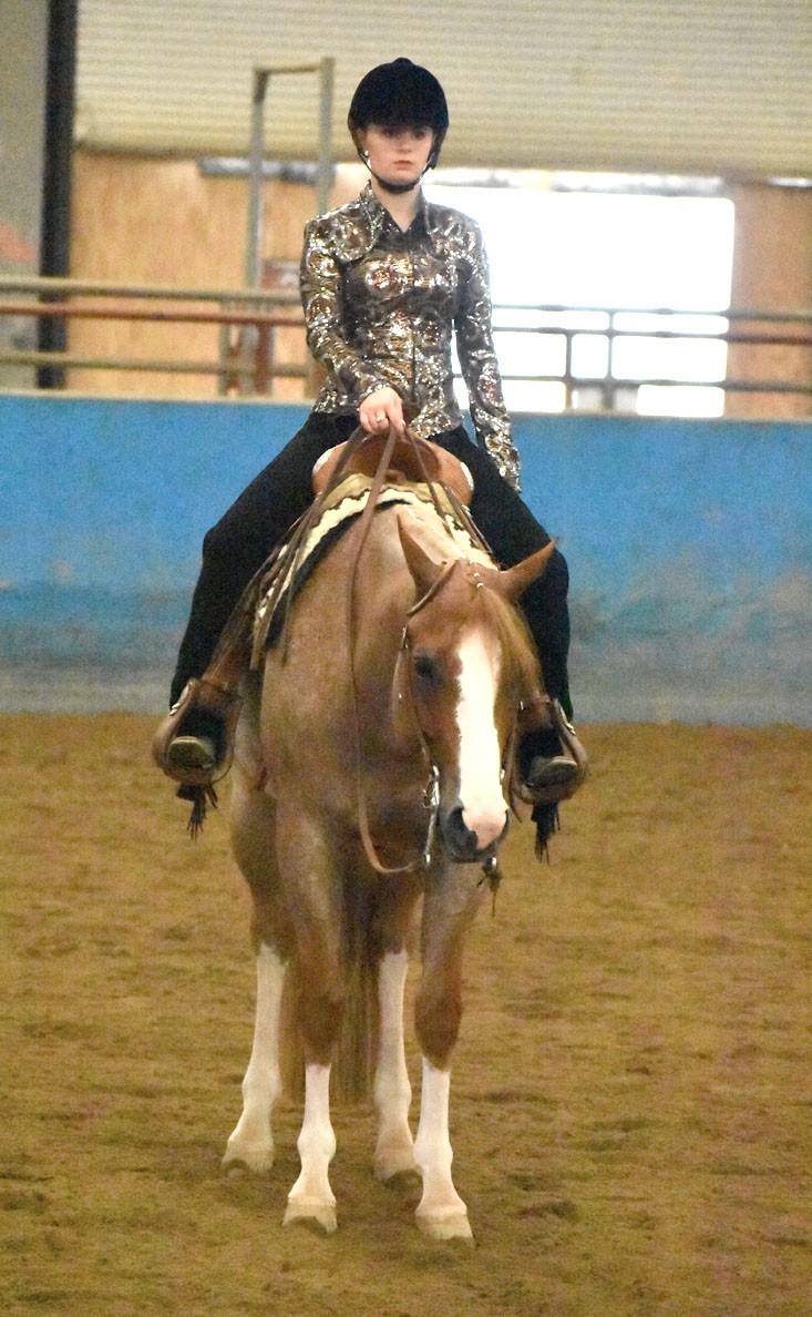 Kyra Petty placed high in Western showmanship classes with her horse, Ryder.