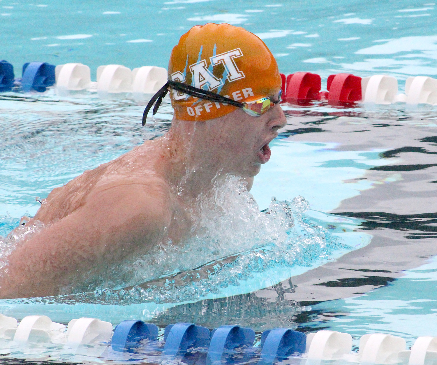 CLEVELAND AQUA Tiger Grayson Officer swims the breastroke during a recent meet. Officer took second place last season overall in the 11-12 age group and has now aged up.
