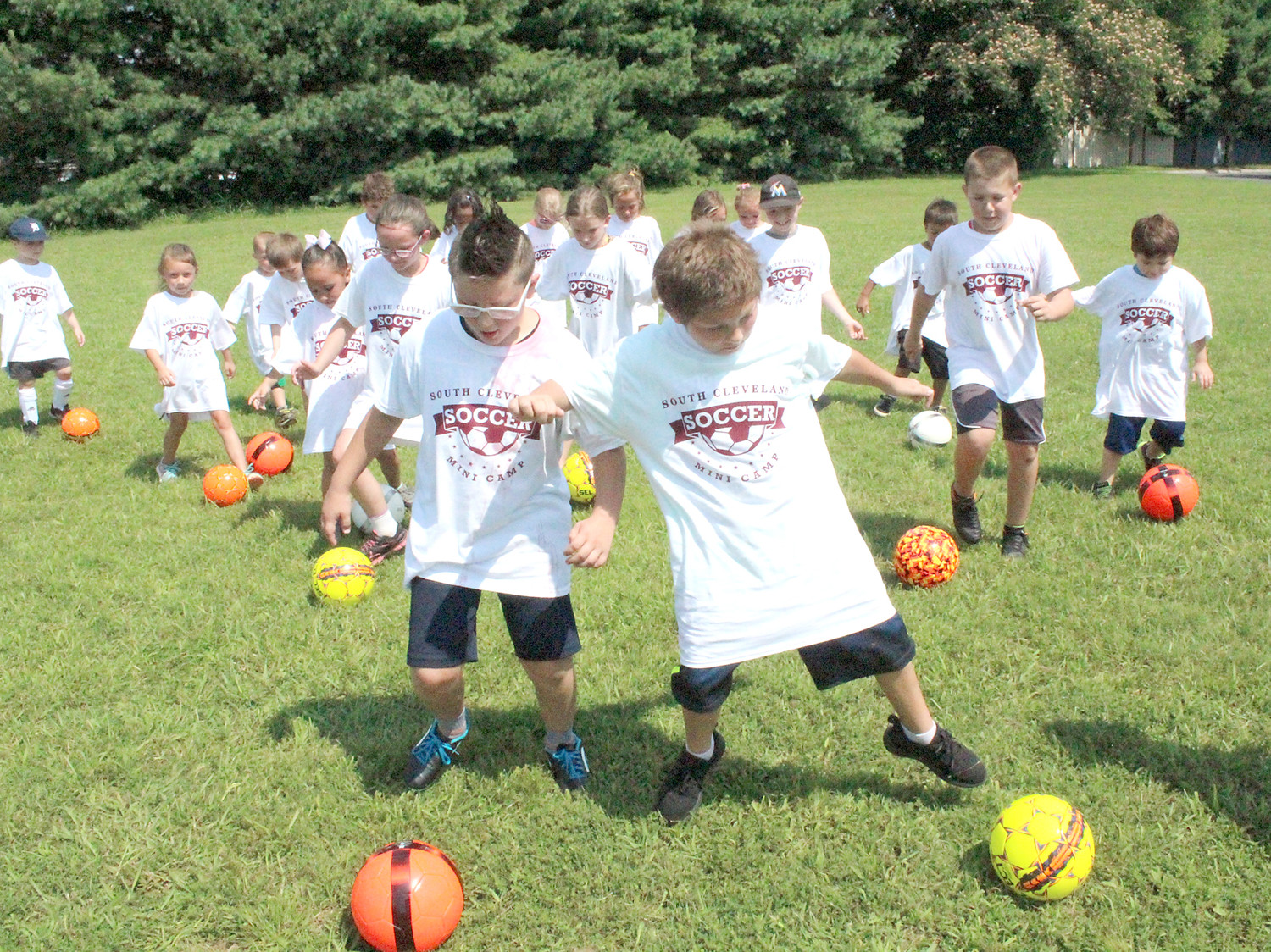 LOCAL SOCCER players had fun at the inaugural South Cleveland mini camp at Blythe-Bower Elementary School on Tuesday and Wednesday. The camp was free of charge and sent campers home with free soccer balls and T-shirts.