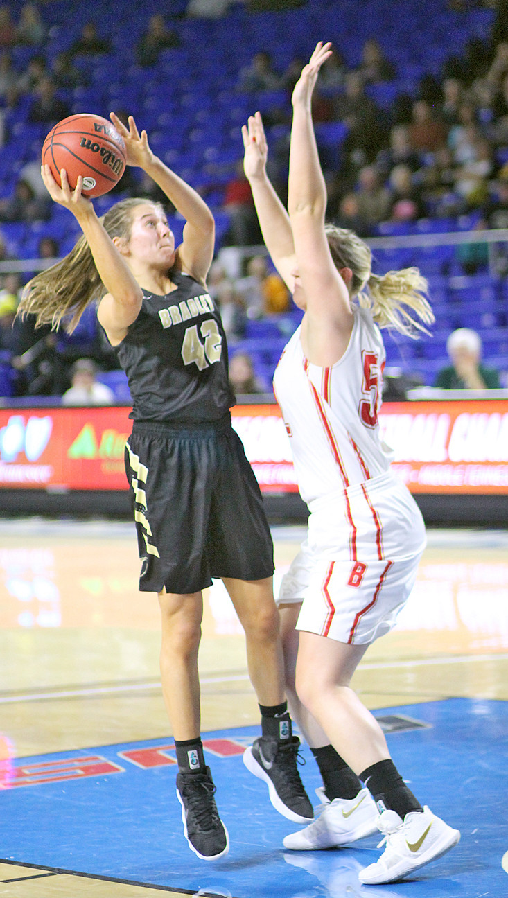 BRADLEY CENTRAL junior Anna Walker (42) has already drawn a trio of collegiate offers since helping the Bearettes to a TSSAA State Final Four run and is having a strong summer season.
