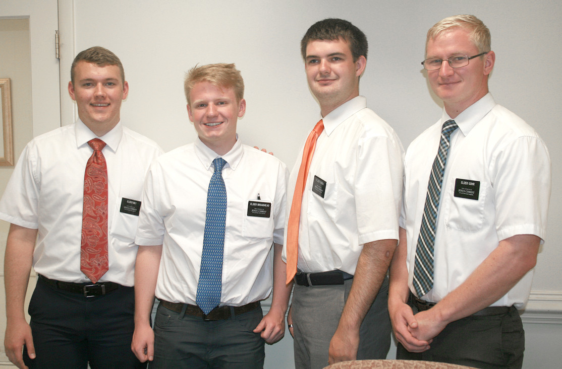 MORMON MISSIONARIES in the area include, from left, Cameron Ney, Matthew Broadhead, Christopher Daines and Torey Gohr.