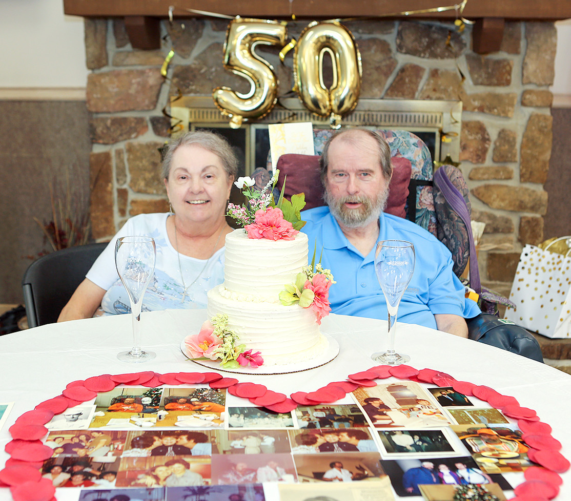 MAX AND SUZANNE HUFFMAN celebrated 50 years of marriage on Aug. 3, surrounded by friends and family at Bradley Healthcare and Rehabilitation Center.  The Huffmans were originally married in a small ceremony with only 12 people in attendance – they didn't even have a wedding cake.  For their 50th anniversary, a cake was provided.