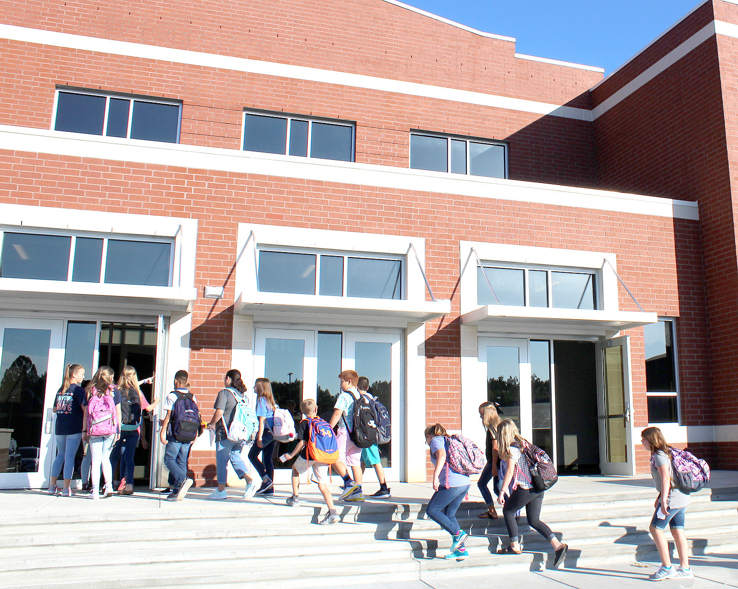 EAGER students head to class inside Lake Forest Middle School's new academic building, which was completed just in time for the first day of school Tuesday.