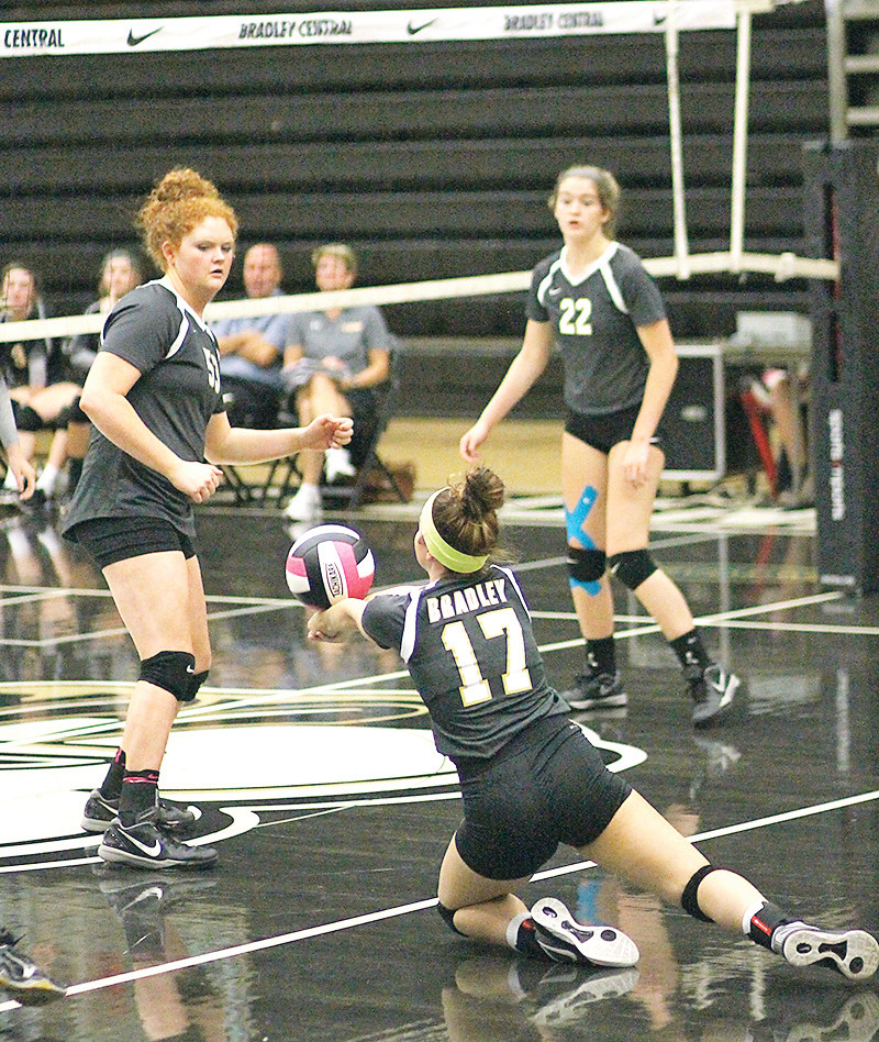 HEADING INTO the new volleyball season, Bradley Central has just one senior in Kaitlin Hullender, left, who will help lead the young Bearette squad.