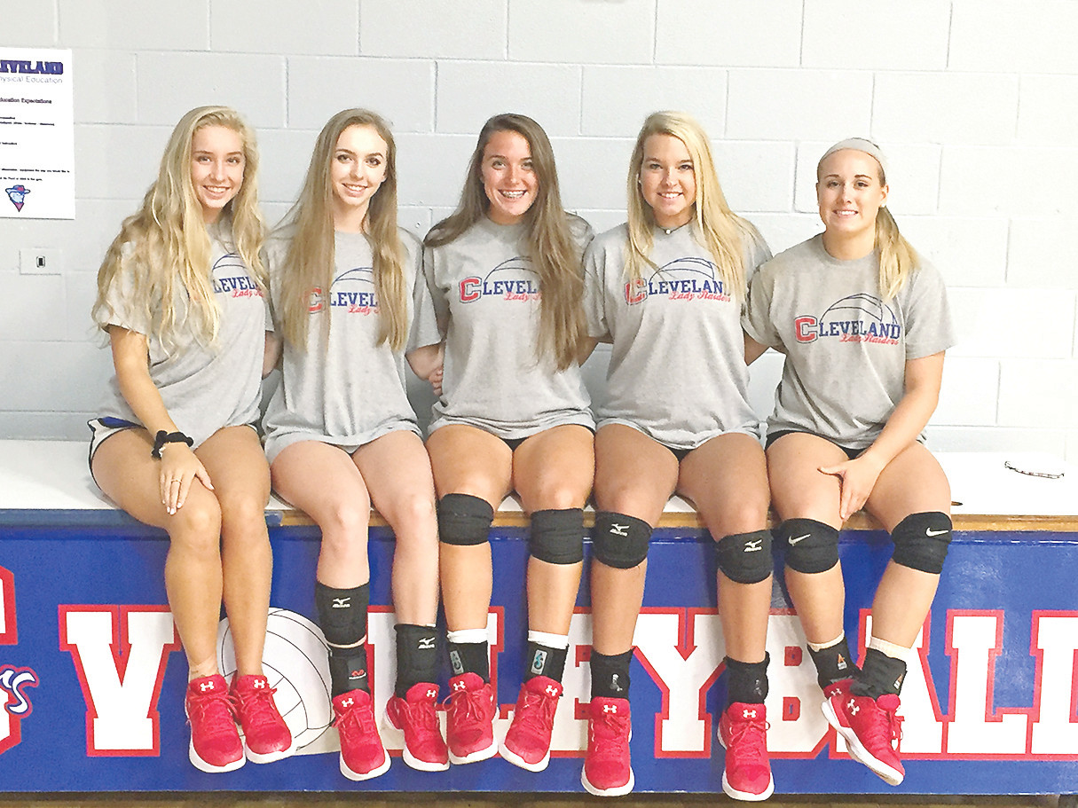 FIVE SENIORS will provide a solid core for Cleveland volleyball this season. From left are Madeline Dasher, Nicole Glaser, Anna Renshaw, Cydney Brock and Lydia Martin.