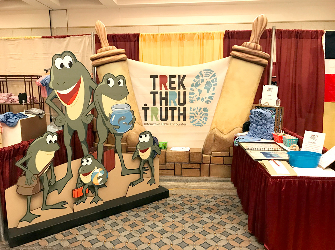 "A DISPLAY from Trek Thru Truth is set up at the recent Church of God of Prophecy General Assembly in Chattanooga. Shown are ""Pharoah's frogs,"" some of the animal characters which will call the children's museum home."