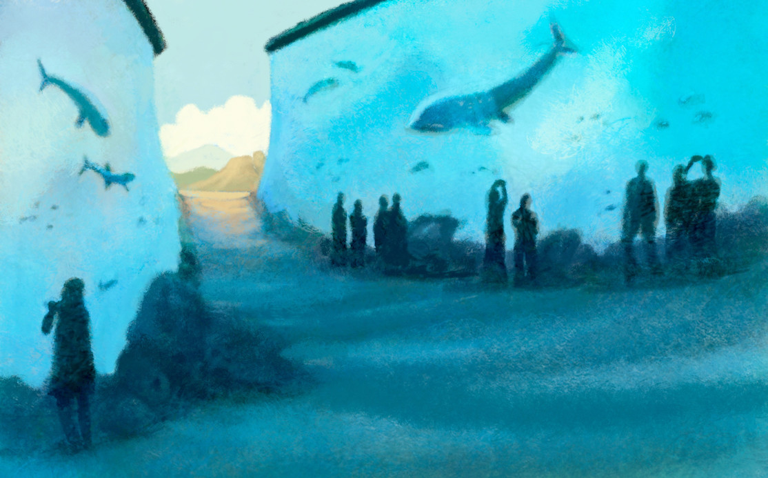 LARGE AQUARIUMS filled with live fish will form the walls in a Trek Thru Truth exhibit telling the Bible story of how the Israelites escaped oppressed by walking through the Red Sea.