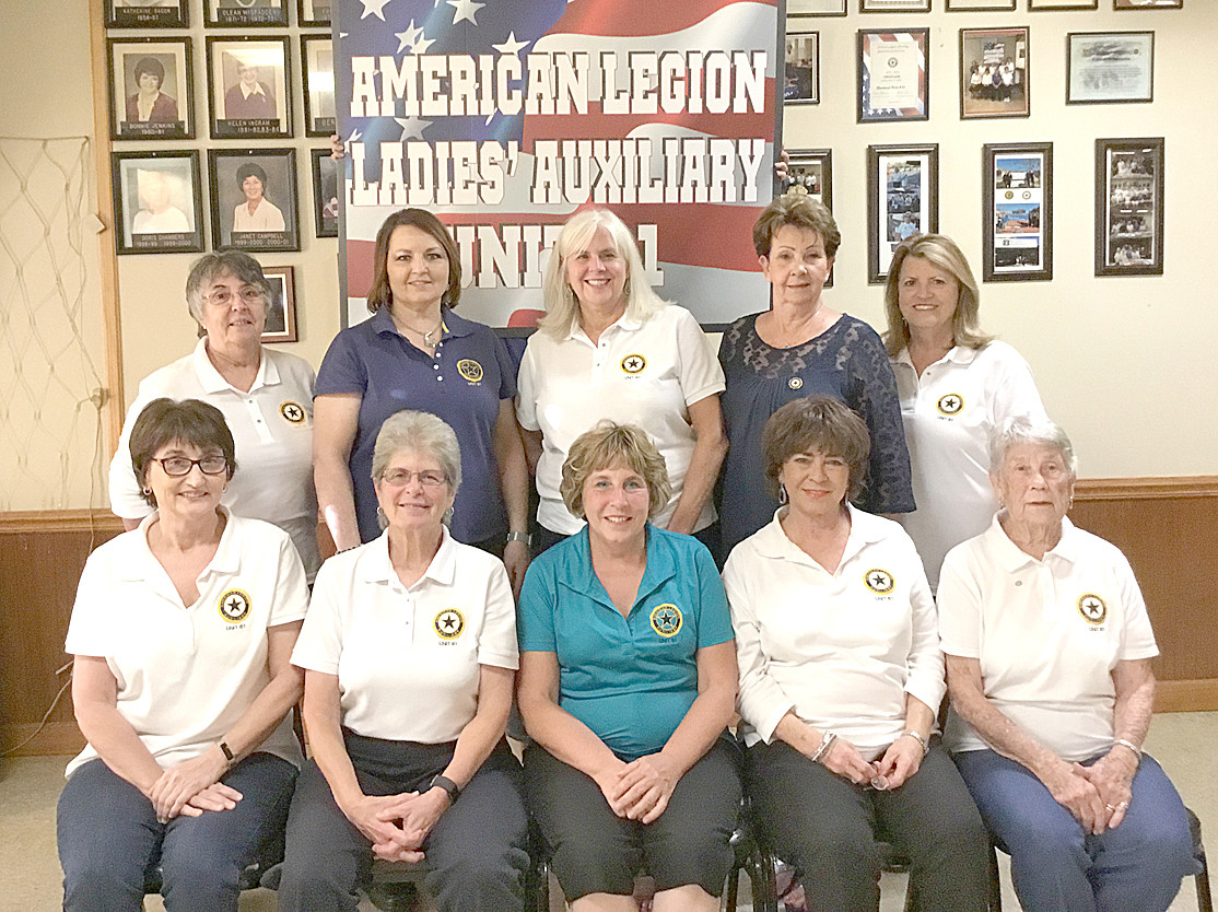 American Legion Auxiliary Unit 81 officers for 2018-19 include back row, from left, Josie Rivers, Executive Board; Mary Nelle Thomason, Executive Board; Judy Davis, Executive Board; Carol Smith, secretary; and Janice Higgins, treasurer. In front are Tammy Hood, vice president; Janet Allen, president; Carol Osborne, historian; Beverly LeConte, chaplin; and Juanita Cooper, sergeant at arms.