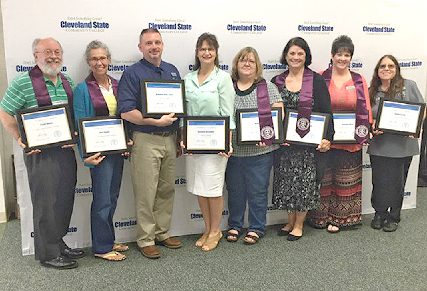 Faculty and staff members at Cleveland State Community College recently received recognition for completing Level I and II advisor training. From left are Travis Hayes, Level II; Amy Fowler, Level II; Chris Jones, Level I; Melodee Alexander, Level I; Vickie Still, Level II; Donna Brogdon, Level II; Stefanie West, Level II; and Shelia Smith, Level II.