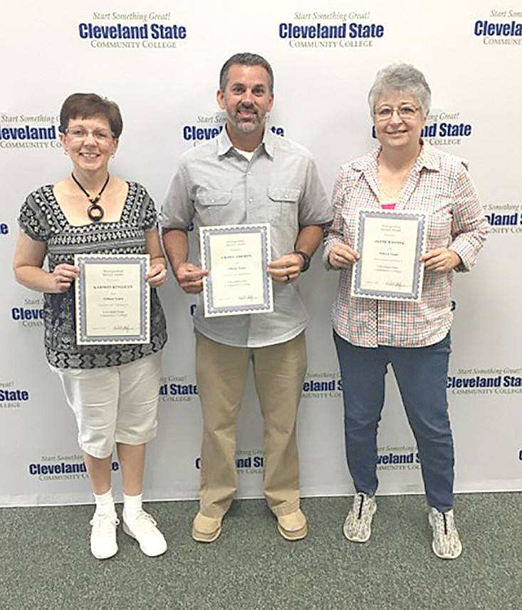 These employees were awarded 15-year service awards to the Cleveland State Community College. They include, from left, Karmon Kingsley, Chad Cameron and Jayne Hasting. Not available for the photo were Tony Bartolo, Robert Brewer and Amy Norwood.