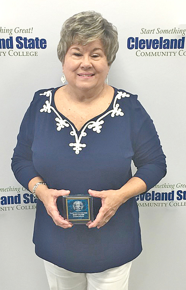 Mary Calfee was awarded a 20-year service award to the Cleveland State Community College.