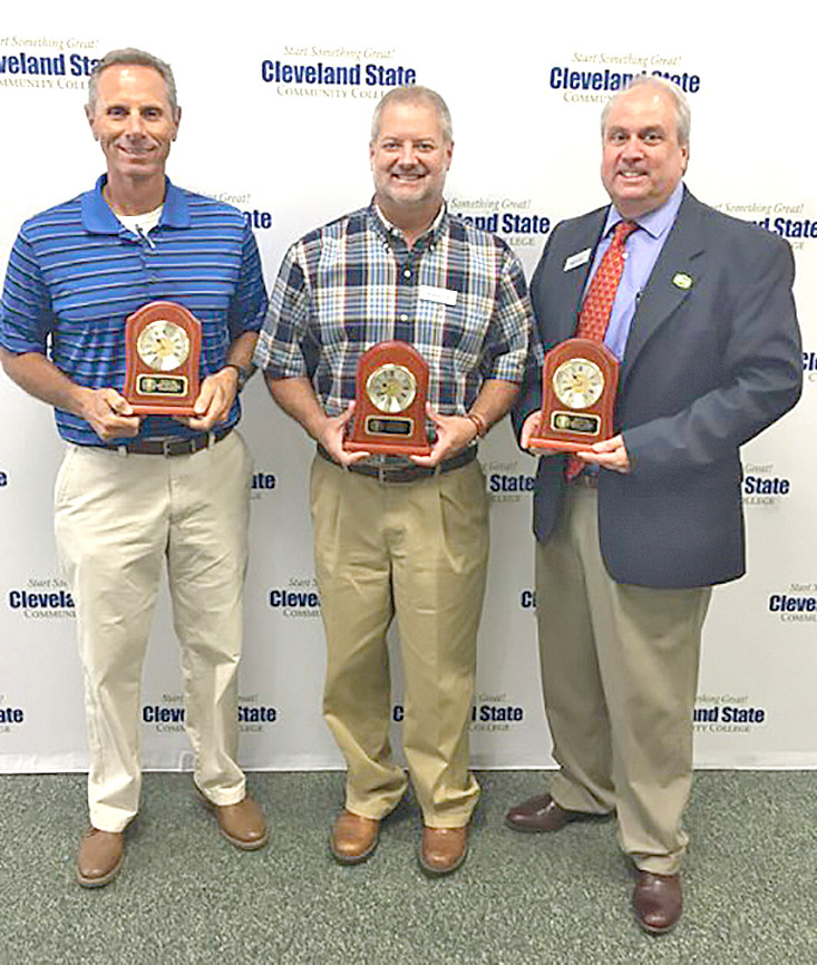 These employees were awarded 25-year service awards to Cleveland State Community College. From left are Mike Policastro, Mark Wilson and Dr. Michael Stokes.